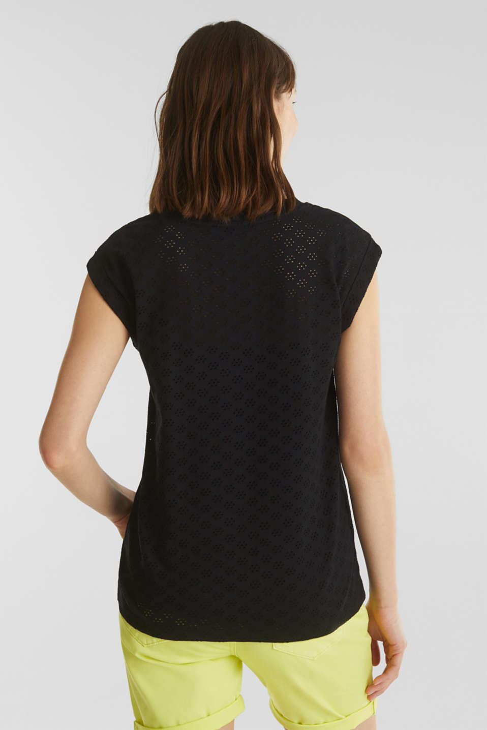Openwork top made of 100% cotton, BLACK, detail image number 3