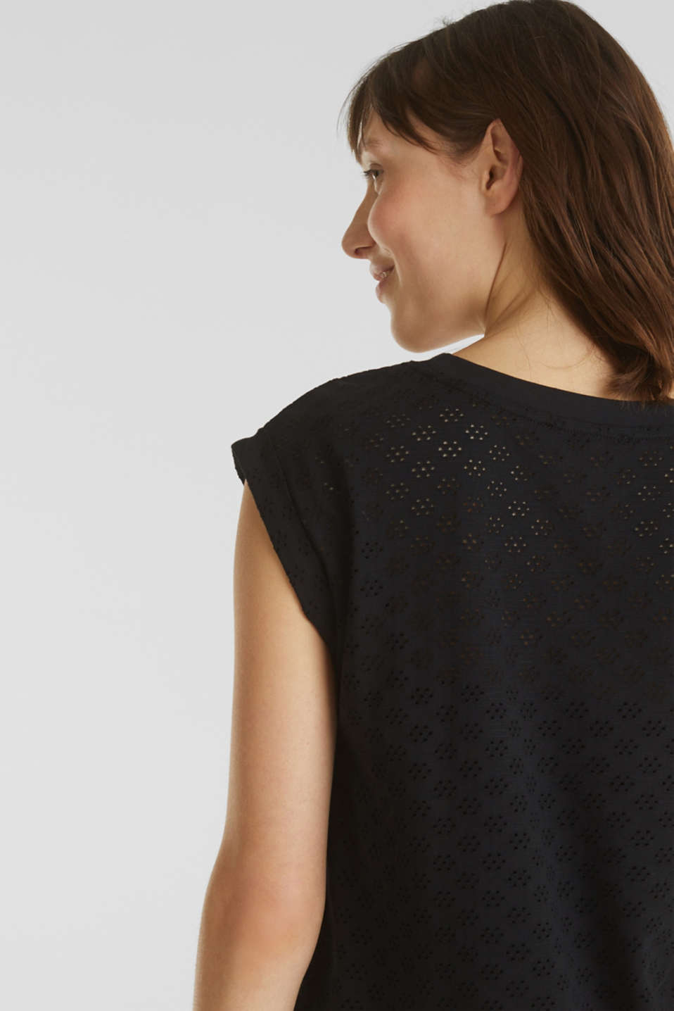 Openwork top made of 100% cotton, BLACK, detail image number 2