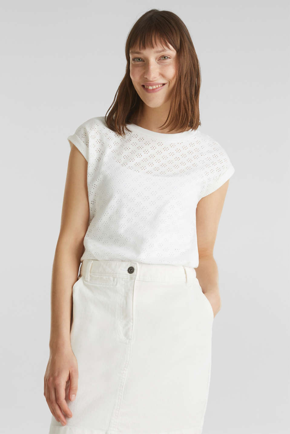 Openwork top made of 100% cotton, WHITE, detail image number 0
