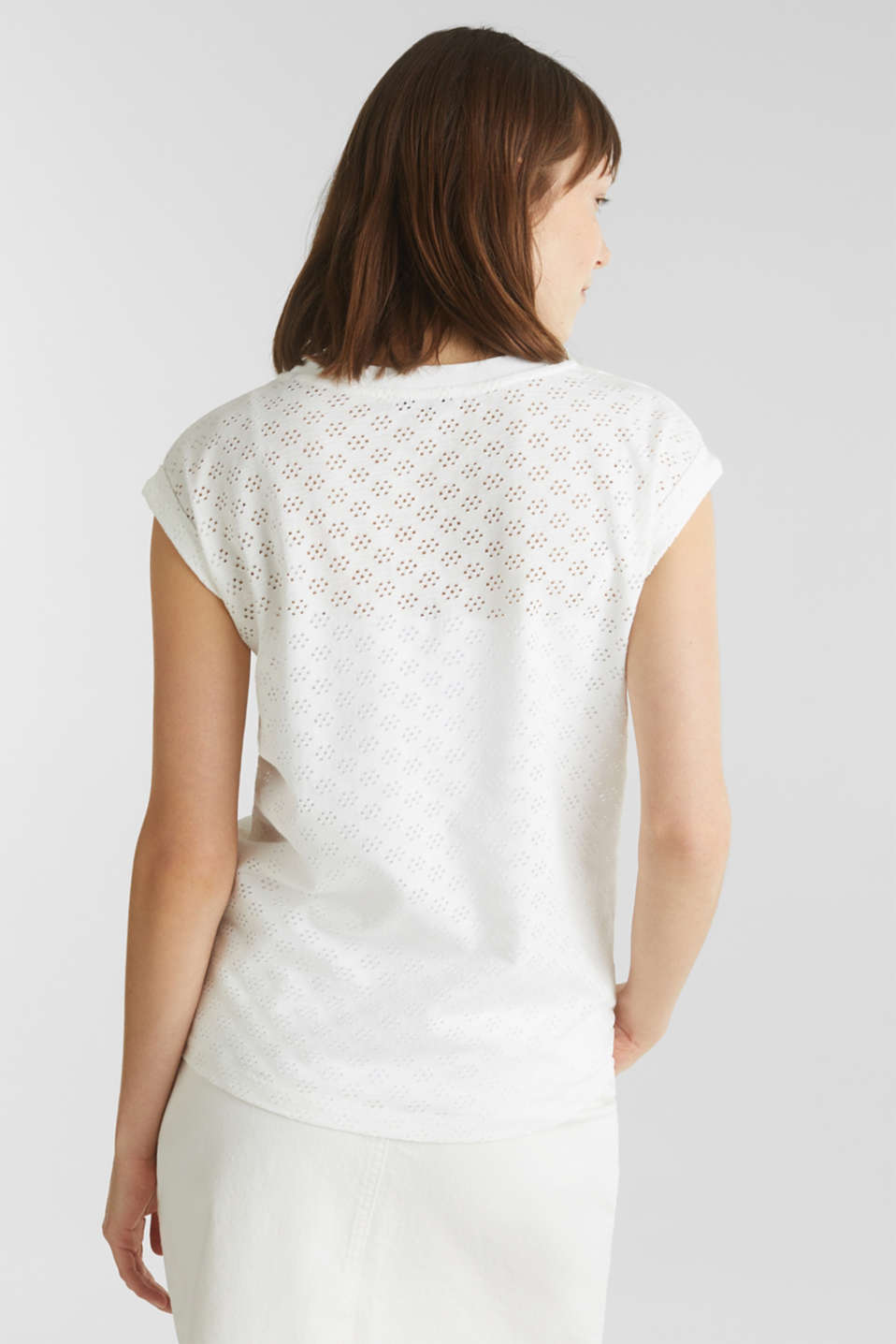 Openwork top made of 100% cotton, WHITE, detail image number 3