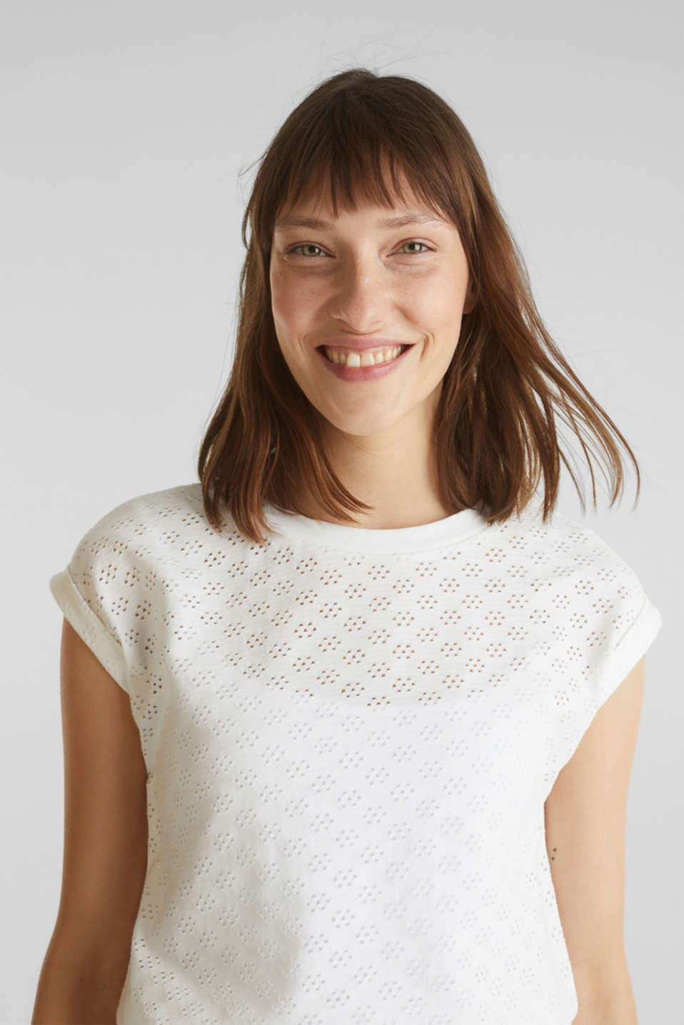 Openwork top made of 100% cotton, WHITE, detail image number 5