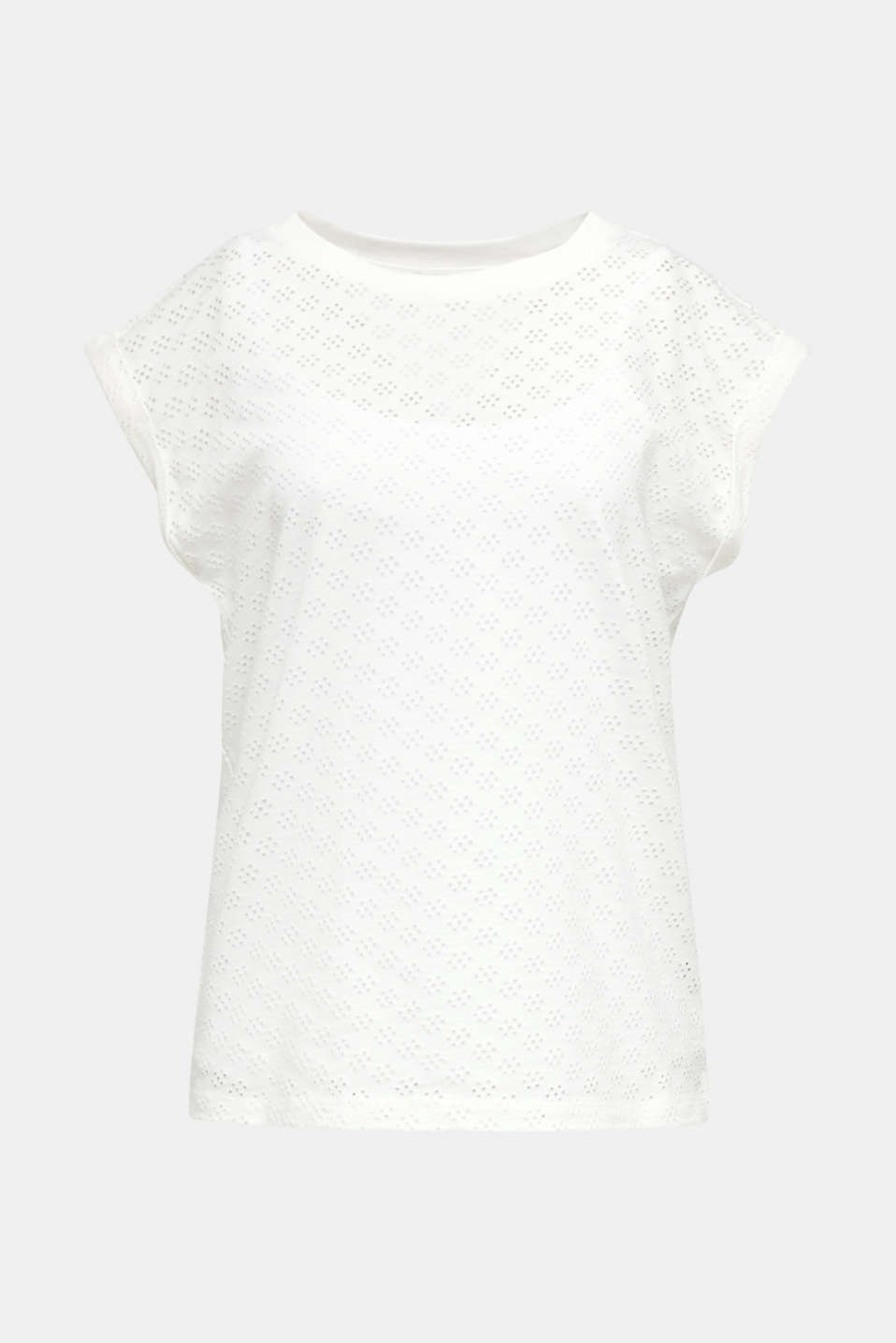 Openwork top made of 100% cotton, WHITE, detail image number 6