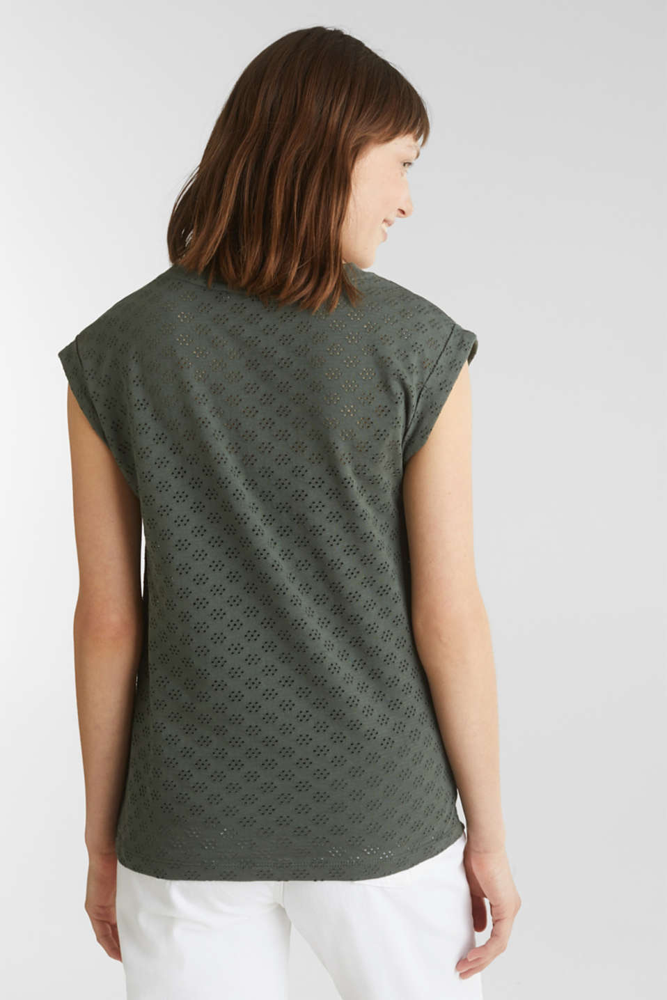 Openwork top made of 100% cotton, KHAKI GREEN, detail image number 3