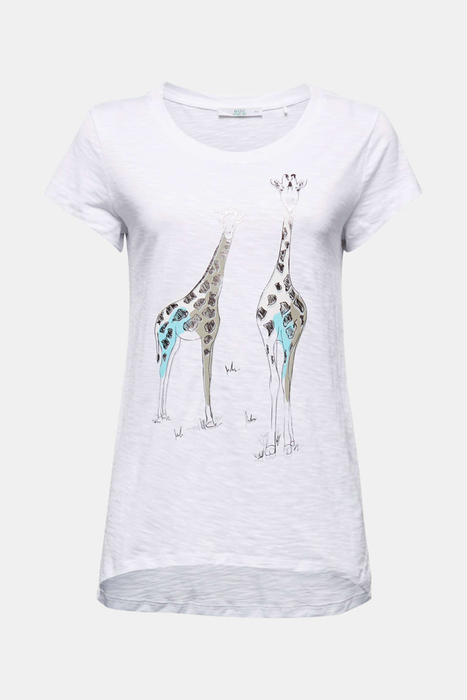 Top with a metallic print, organic cotton, WHITE, detail image number 6