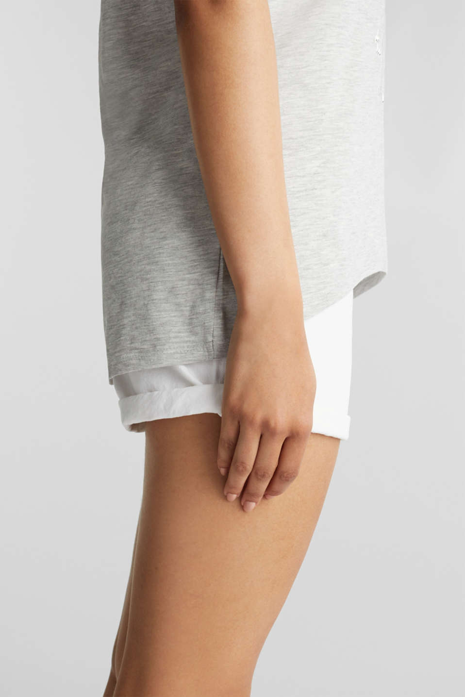 Top with organic cotton, LIGHT GREY 5, detail image number 2