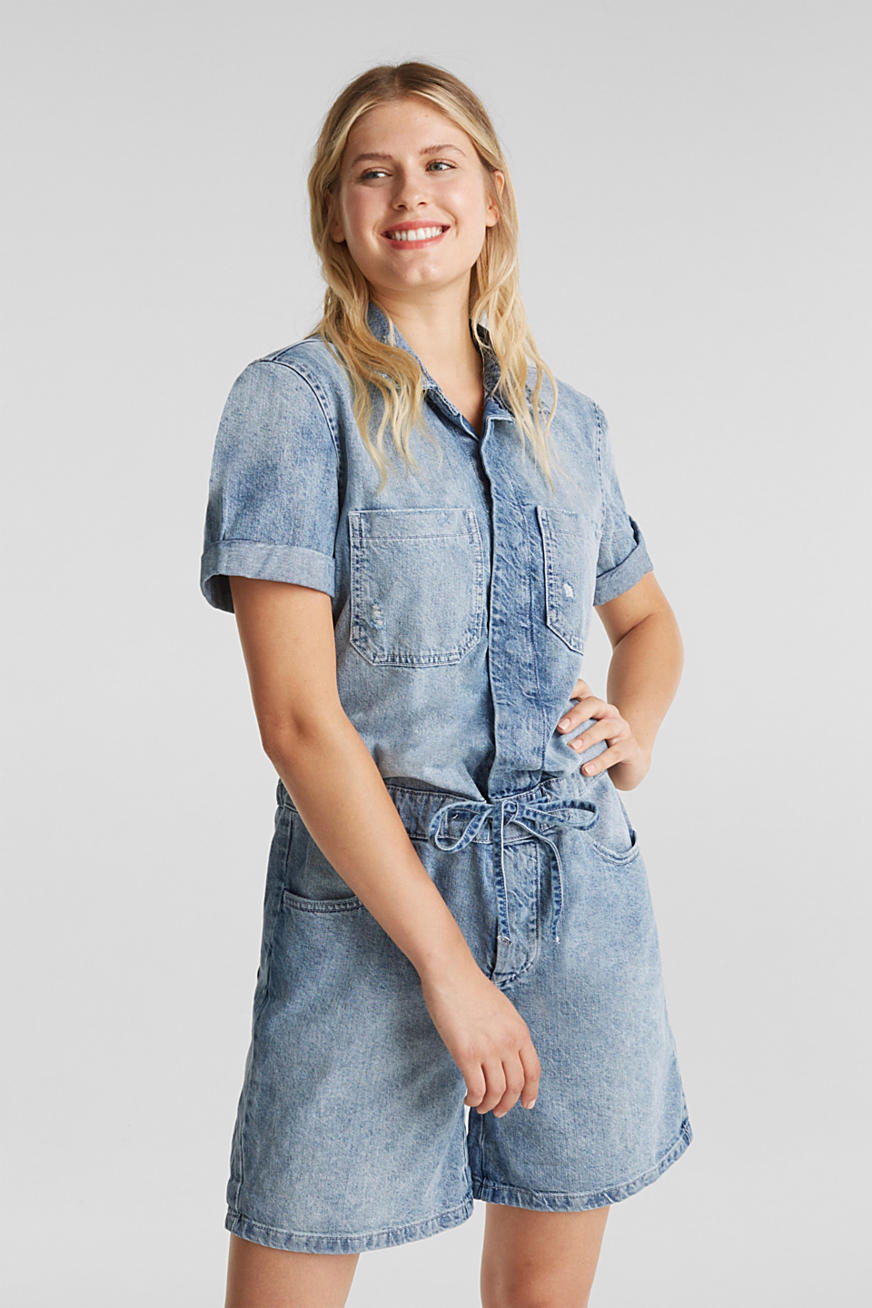 Denim jumpsuit in used look, 100% katoen