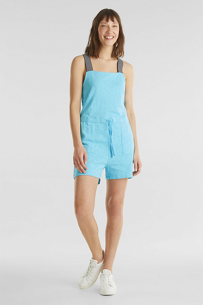 Playsuit, Baumwoll-Jersey, TURQUOISE, detail image number 0