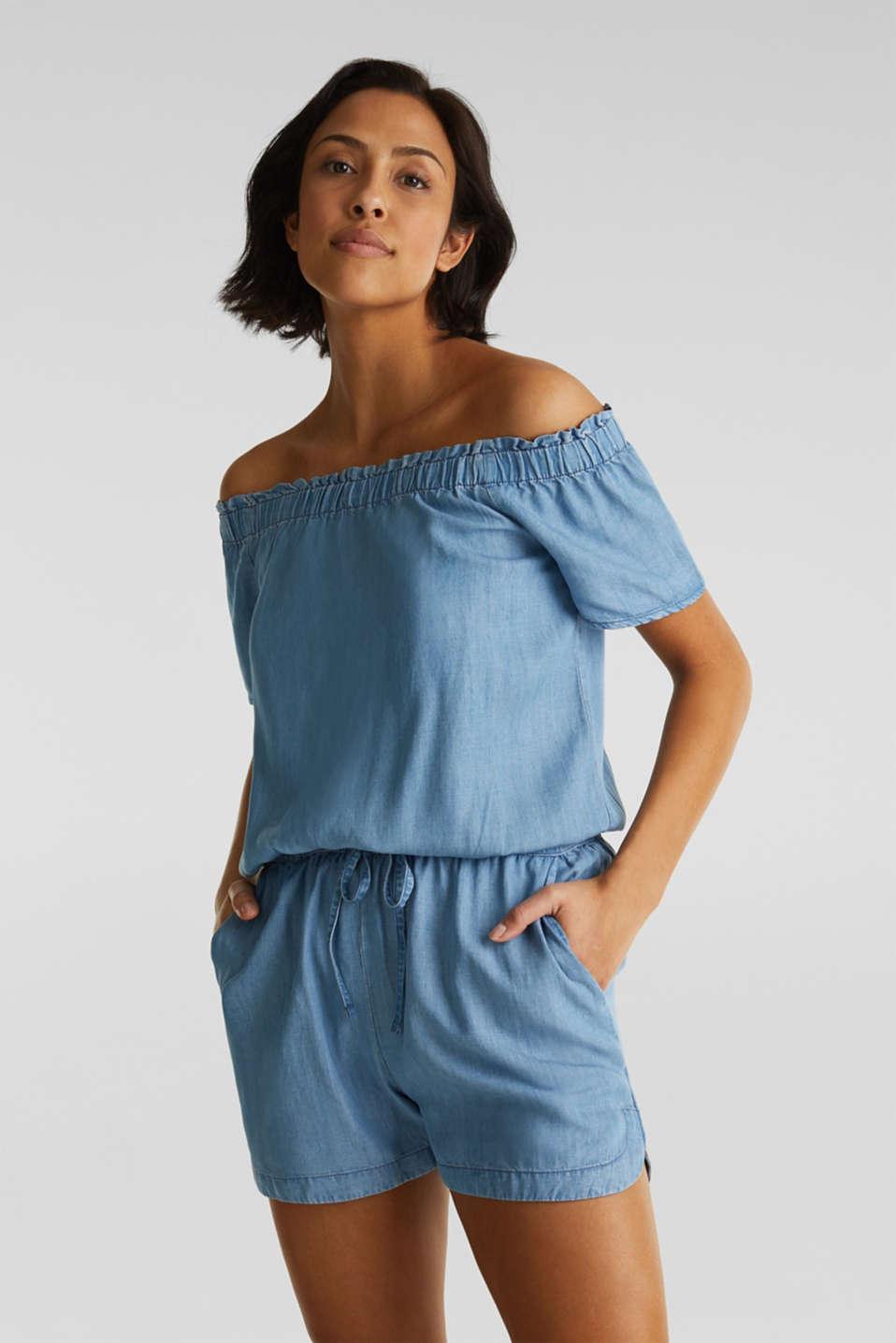 Made of TENCEL™: Carmen jumpsuit, BLUE LIGHT WASH, detail image number 0