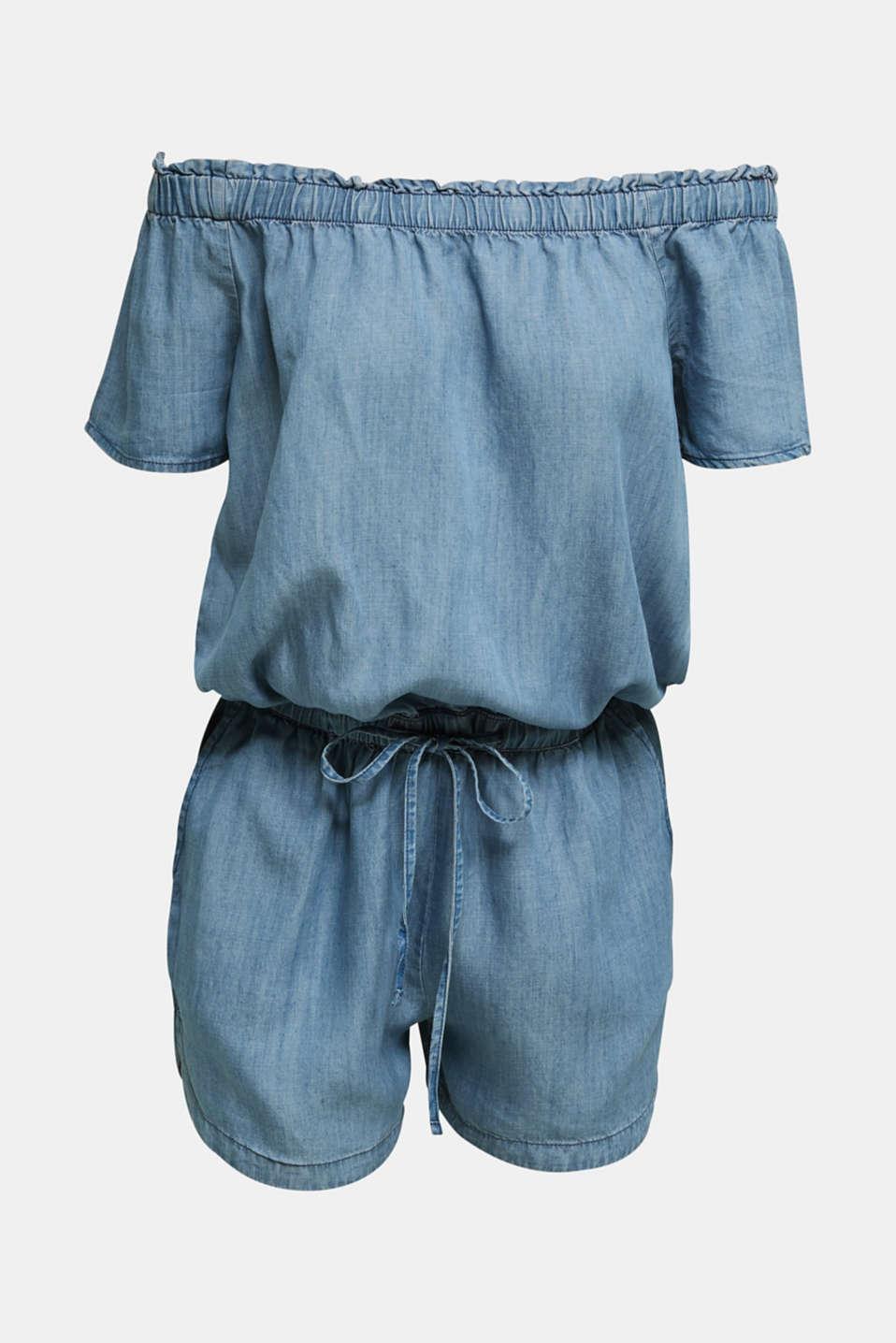 Made of TENCEL™: Carmen jumpsuit, BLUE LIGHT WASH, detail image number 3