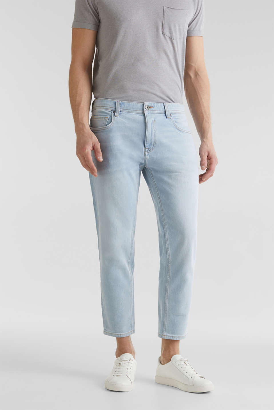 Ankle-length jeans containing organic cotton, BLUE BLEACHED, detail image number 0