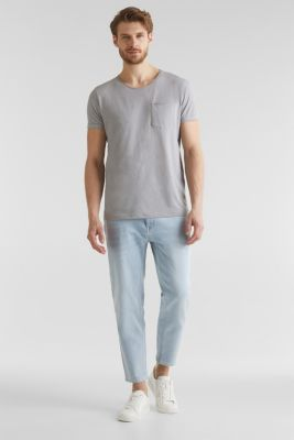 Ankle-length jeans containing organic cotton, BLUE BLEACHED, detail