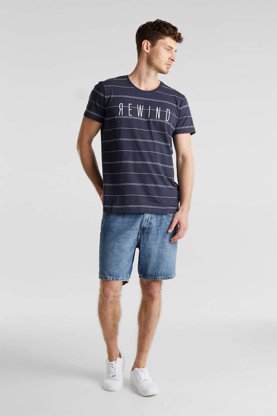 Denim shorts made of 100% cotton, BLUE MEDIUM WASH, detail image number 1