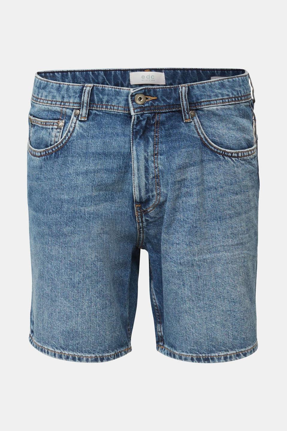 Denim shorts made of 100% cotton, BLUE MEDIUM WASH, detail image number 5