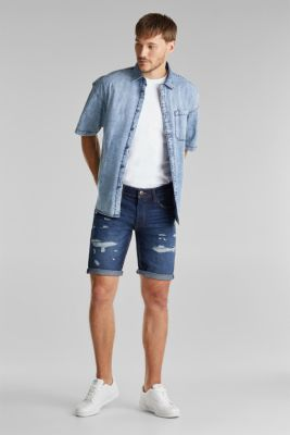 Denim shorts with a vintage finish, BLUE DARK WASH, detail