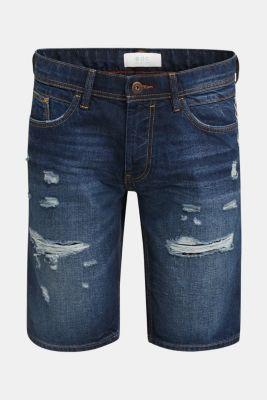 Denim shorts with a vintage finish, BLUE DARK WASH, detail