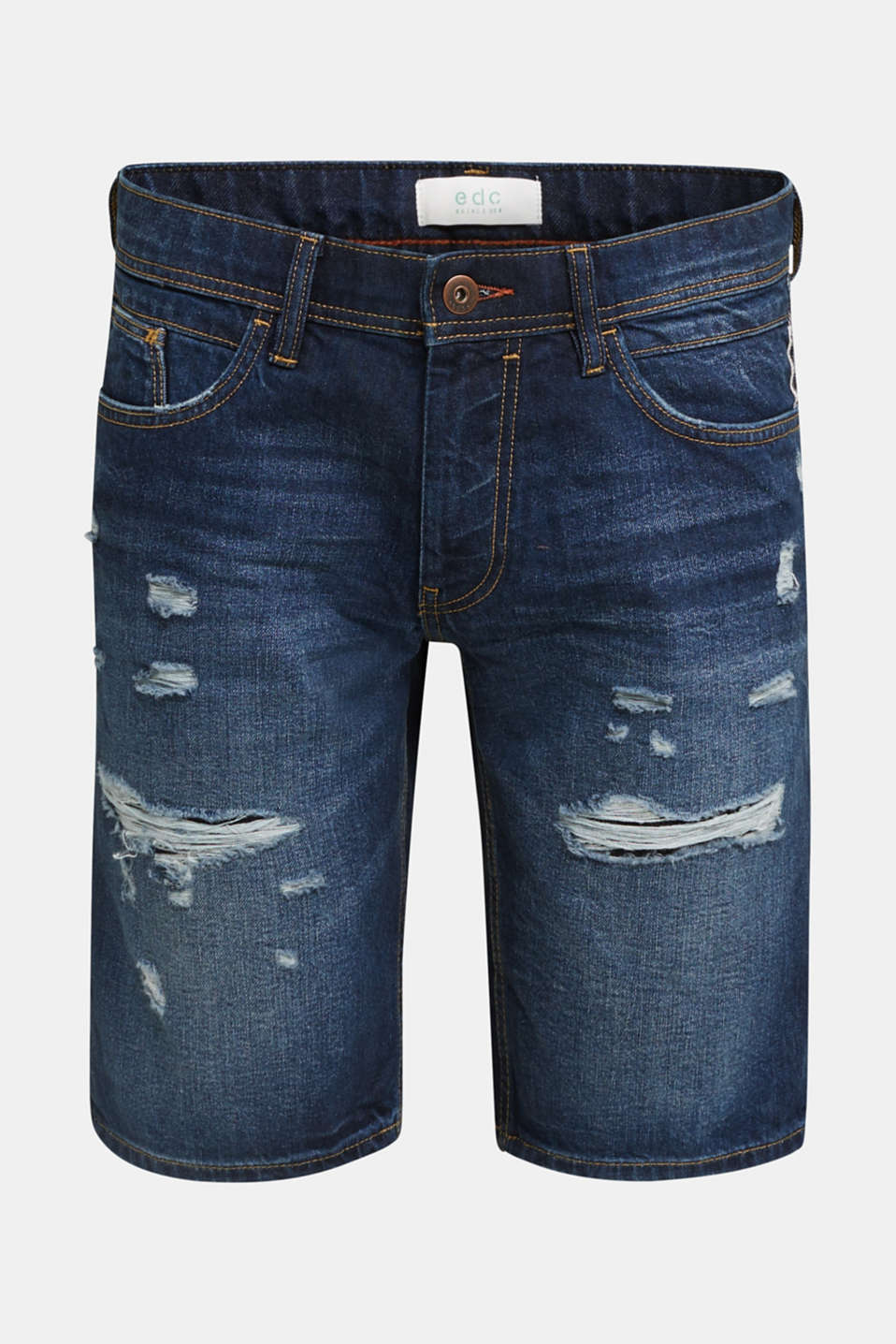 Denim shorts with a vintage finish, BLUE DARK WASH, detail image number 6