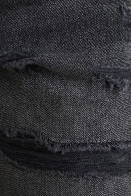 Worn-effect denim shorts containing organic cotton, BLACK DARK WASH, detail