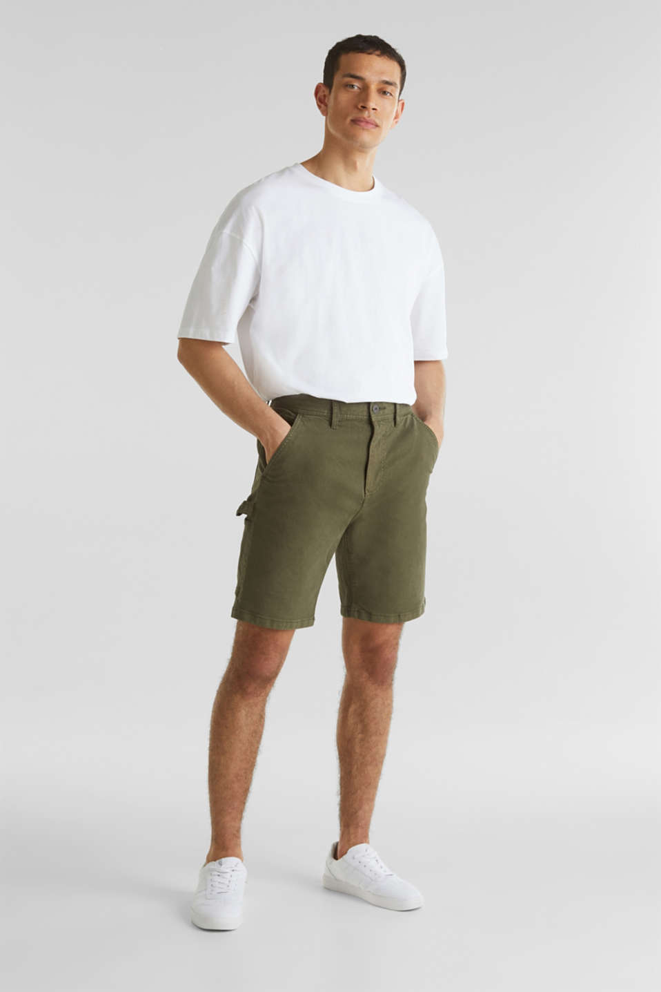 Stretch cargo shorts, KHAKI GREEN, detail image number 1