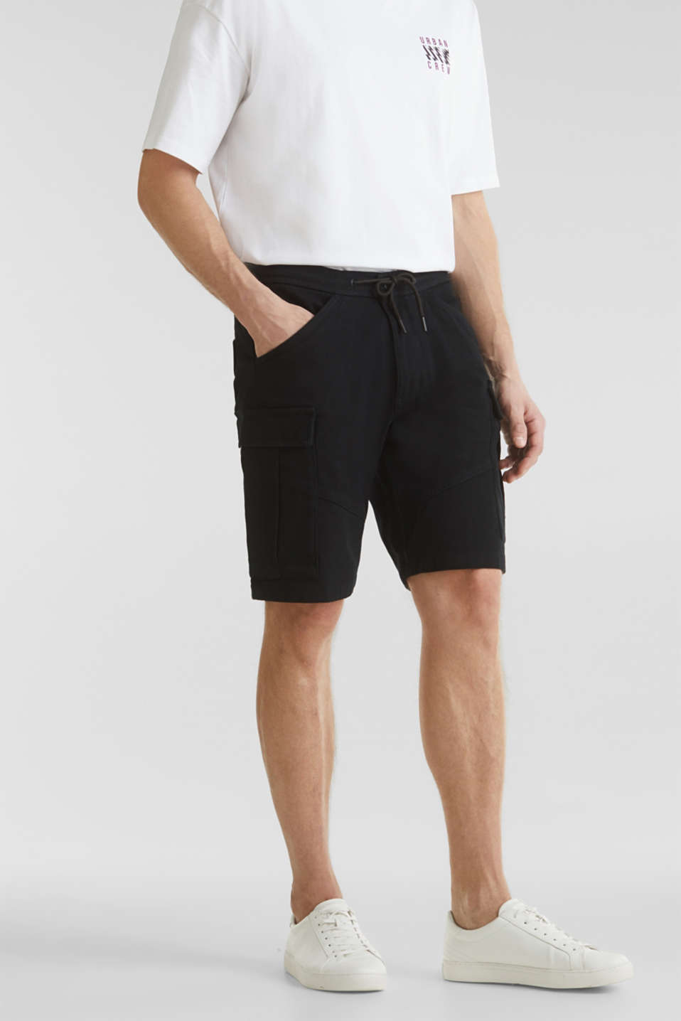 Cargo shorts with organic cotton, BLACK, detail image number 0