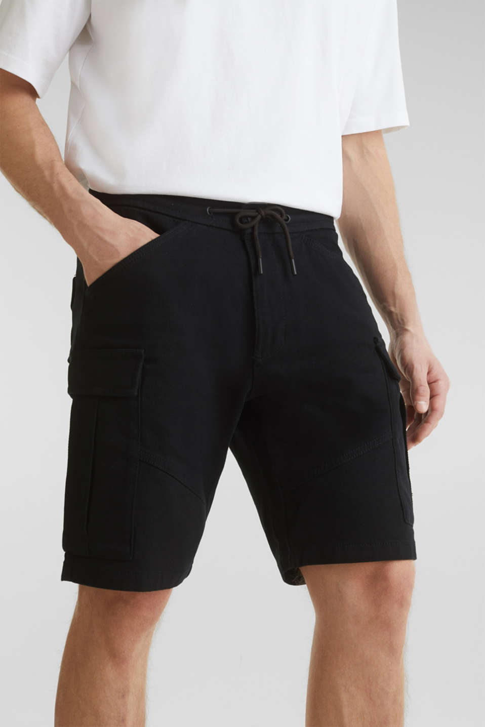 Cargo shorts with organic cotton, BLACK, detail image number 2