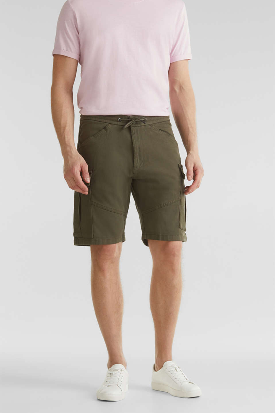 Cargo shorts with organic cotton, KHAKI GREEN, detail image number 0