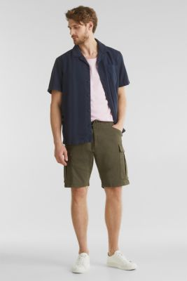 Cargo shorts with organic cotton, KHAKI GREEN, detail