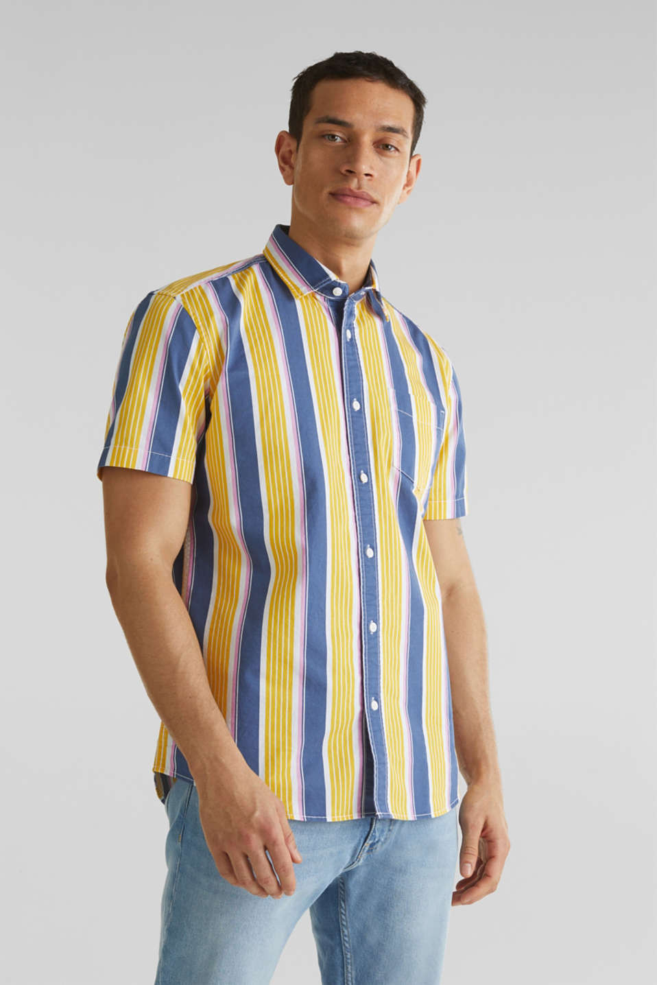 Short sleeve shirt, 100% cotton, BRIGHT YELLOW 3, detail image number 0