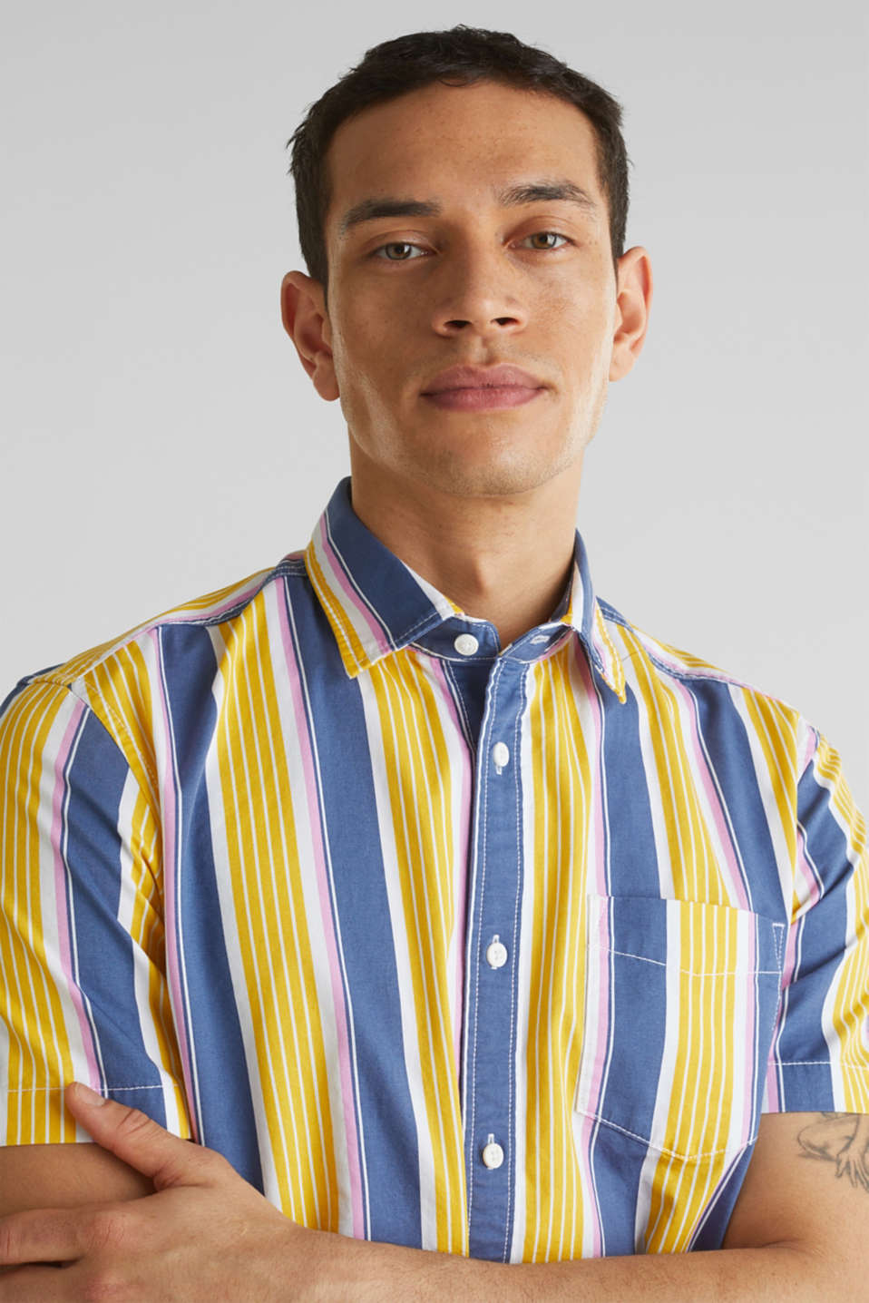 Short sleeve shirt, 100% cotton, BRIGHT YELLOW 3, detail image number 2