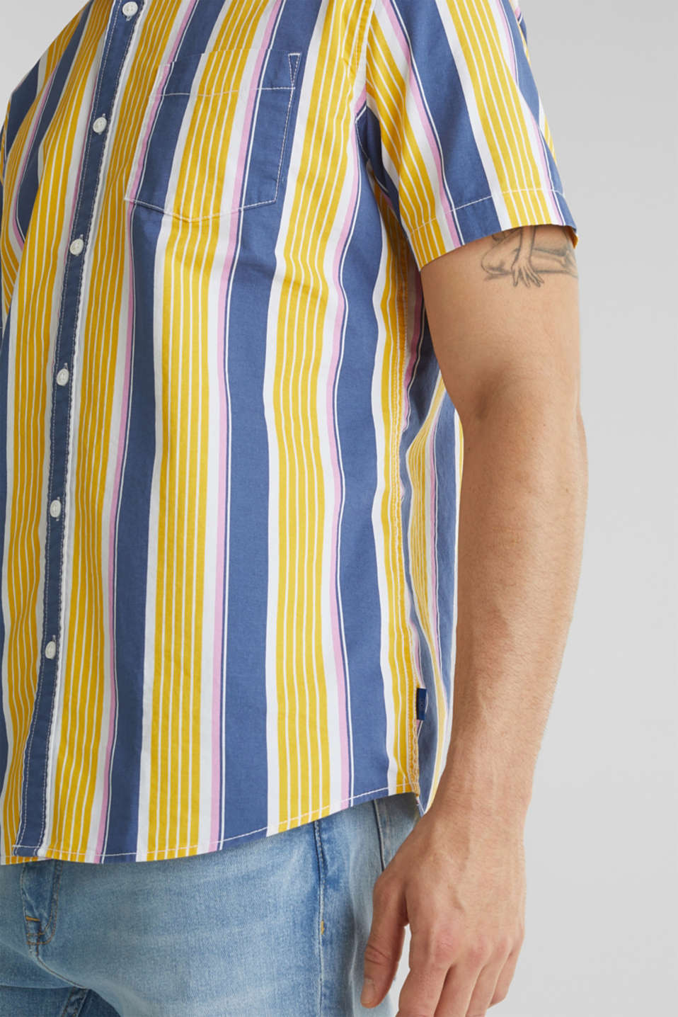 Short sleeve shirt, 100% cotton, BRIGHT YELLOW 3, detail image number 5