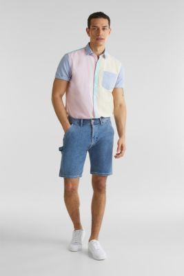 Colour block shirt, 100% cotton, BRASS YELLOW, detail