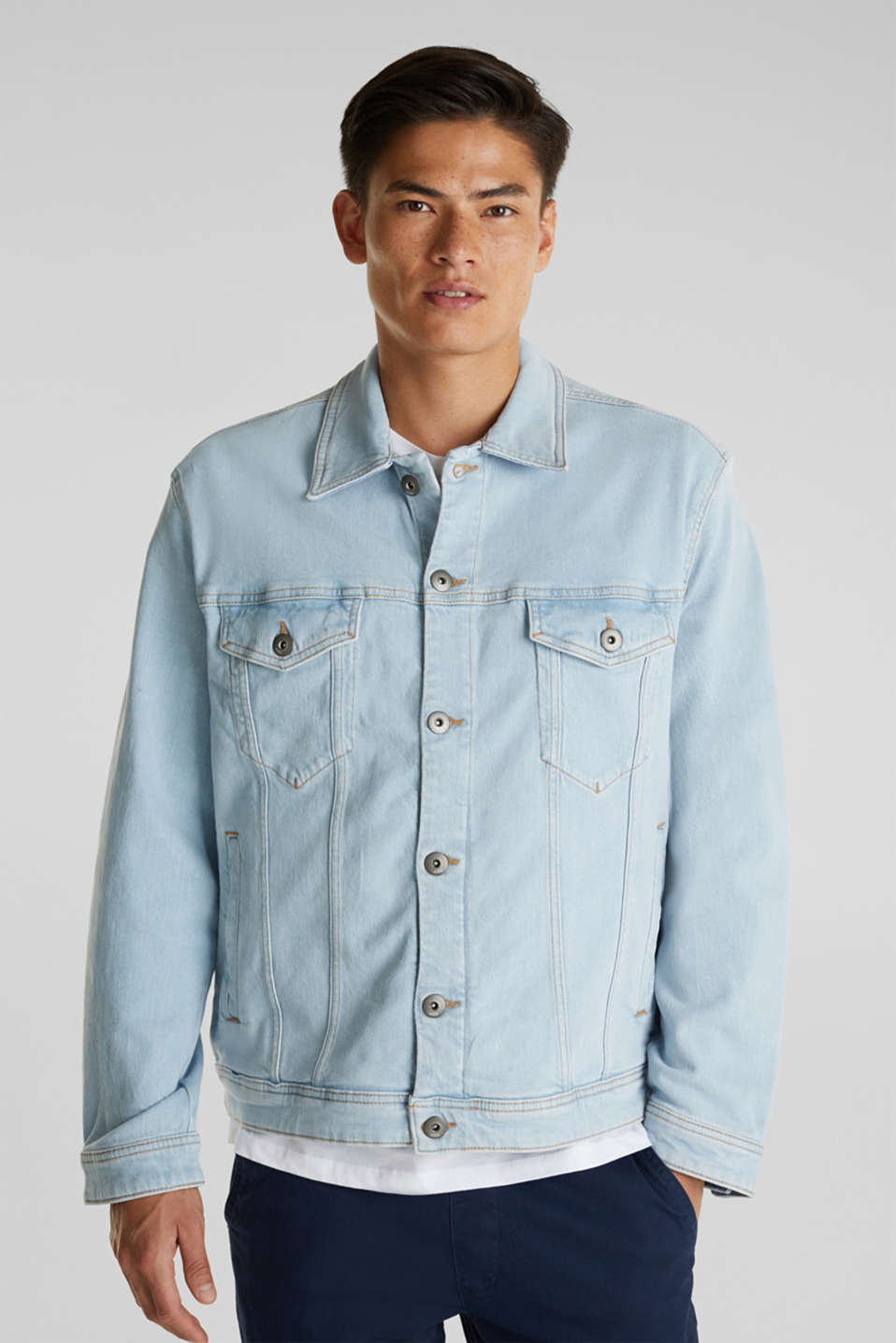 Denim jacket with organic cotton, BLUE BLEACHED, detail image number 4
