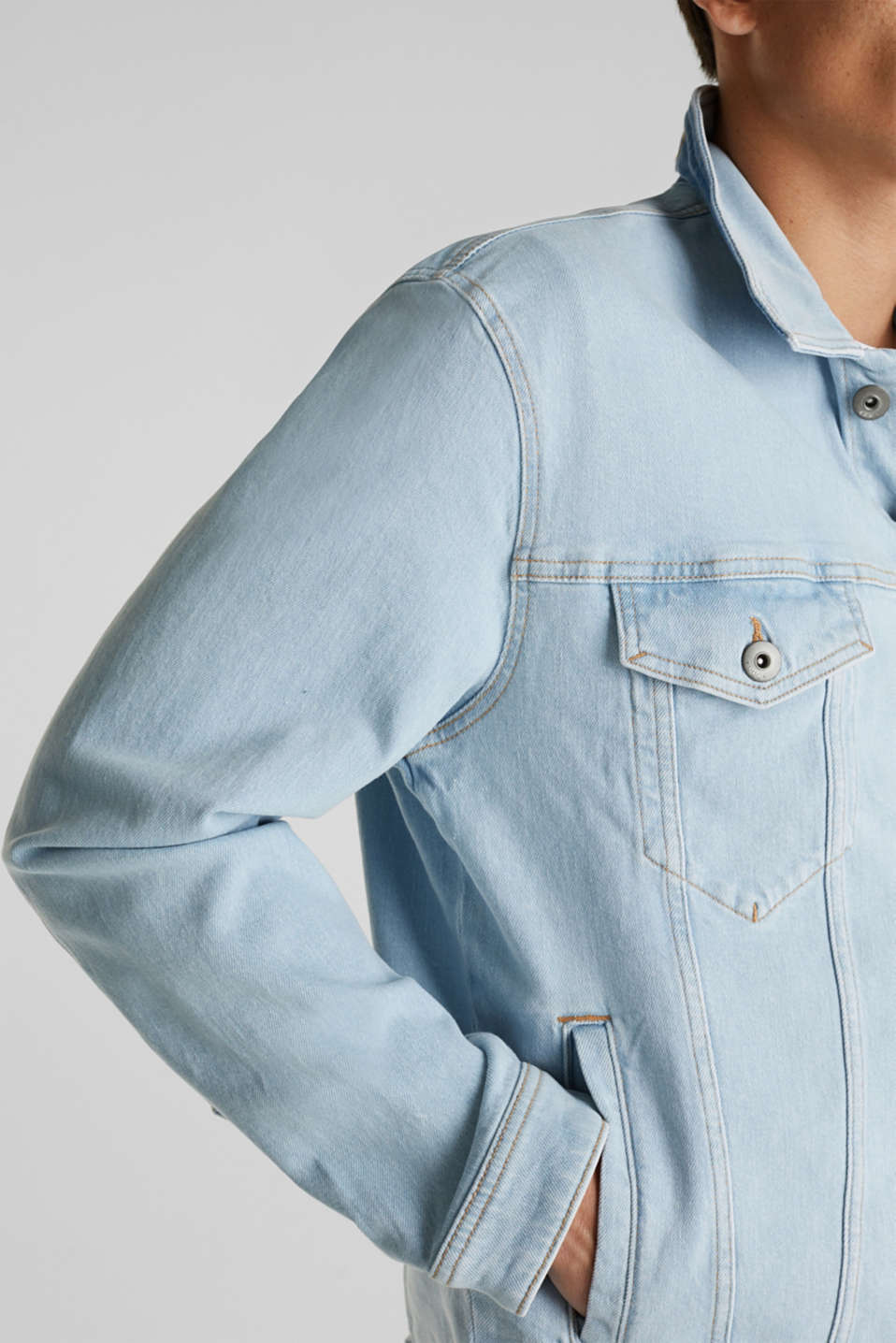 Denim jacket with organic cotton, BLUE BLEACHED, detail image number 2