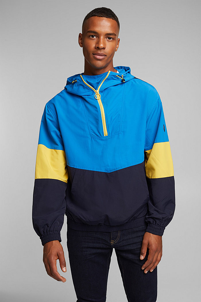 Nylon-Hoodie mit Color Block, DARK BLUE, detail image number 0