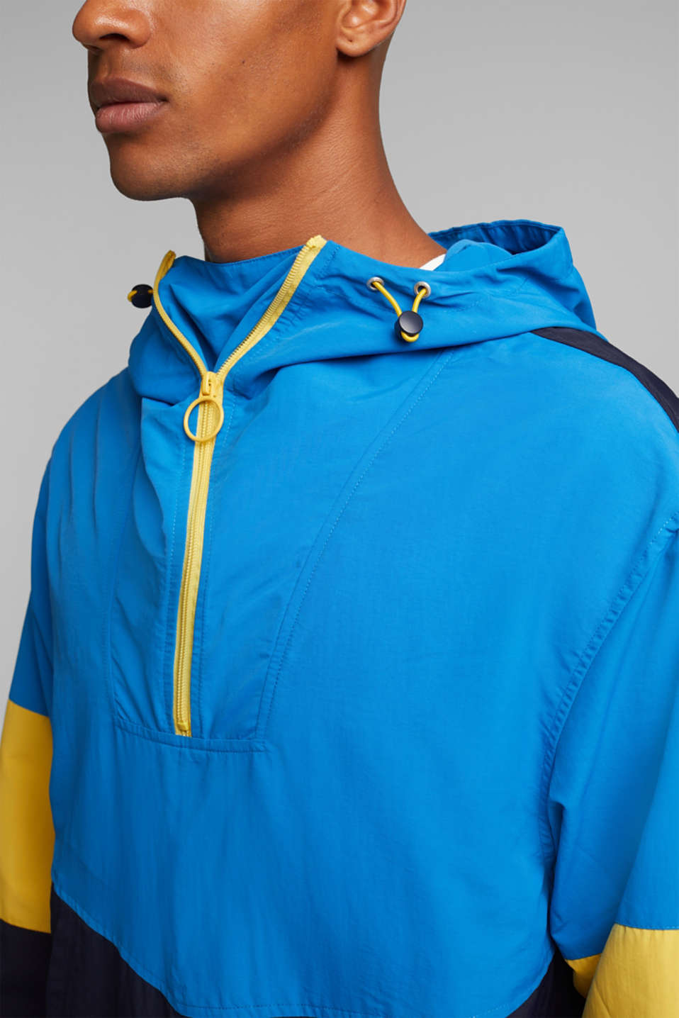 Nylon hoodie with colour blocking, DARK BLUE 2, detail image number 2