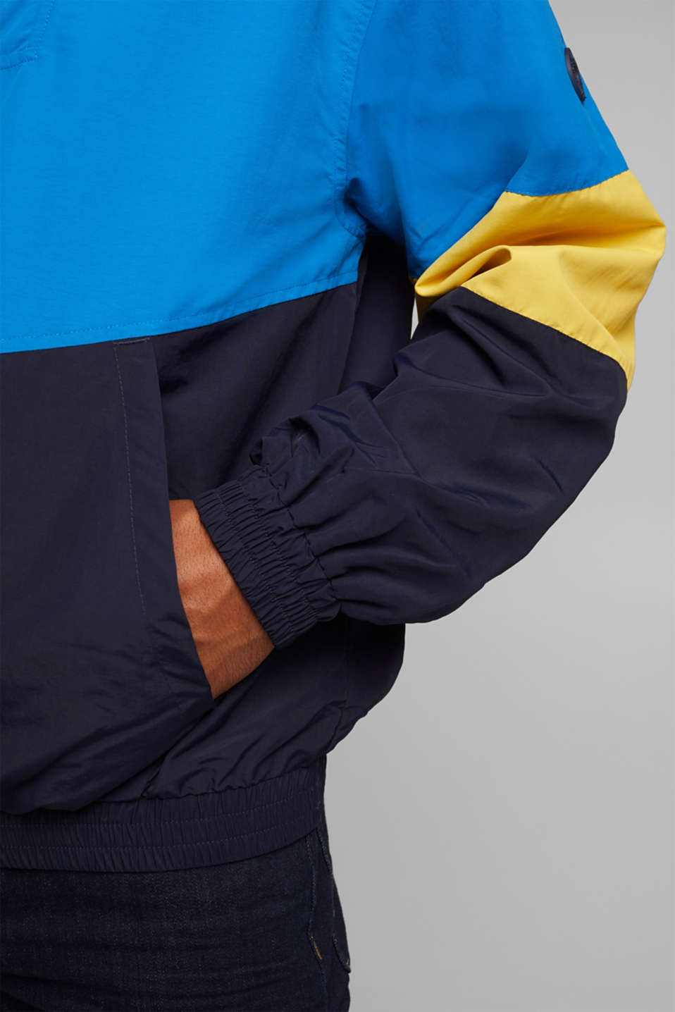 Nylon hoodie with colour blocking, DARK BLUE 2, detail image number 6