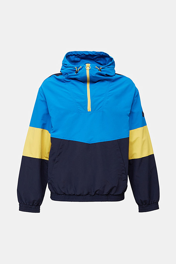 Nylon-Hoodie mit Color Block, DARK BLUE, overview