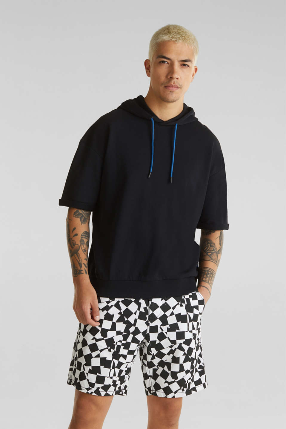 edc - Short sleeve hoodie in 100% cotton