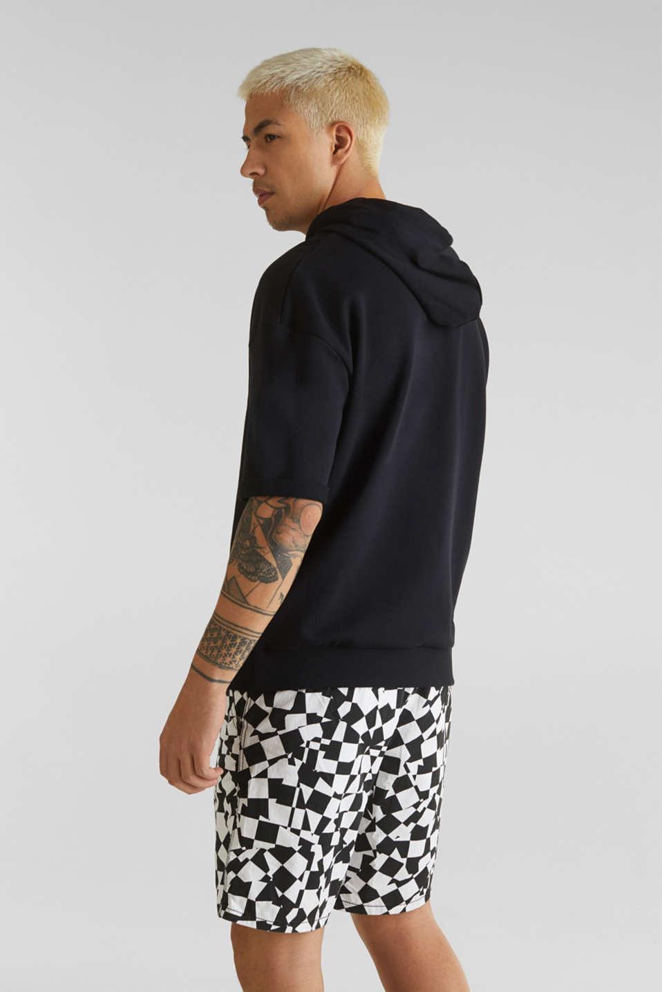 Short sleeve hoodie in 100% cotton, BLACK, detail image number 3