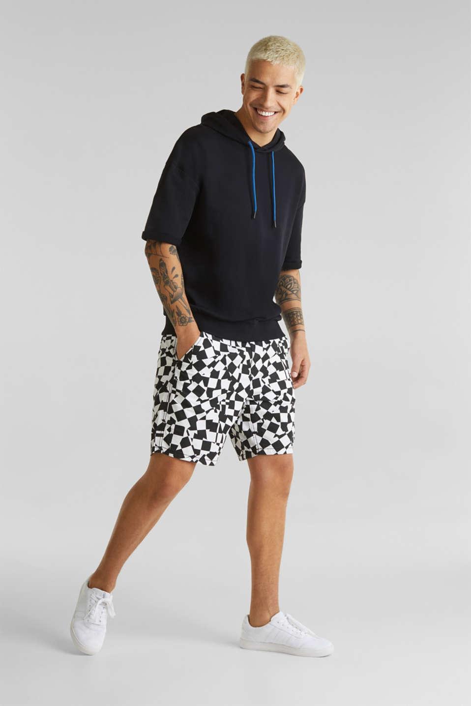 Short sleeve hoodie in 100% cotton, BLACK, detail image number 1
