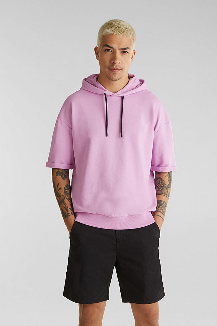 Short sleeve hoodie in 100% cotton, LILAC, detail image number 0