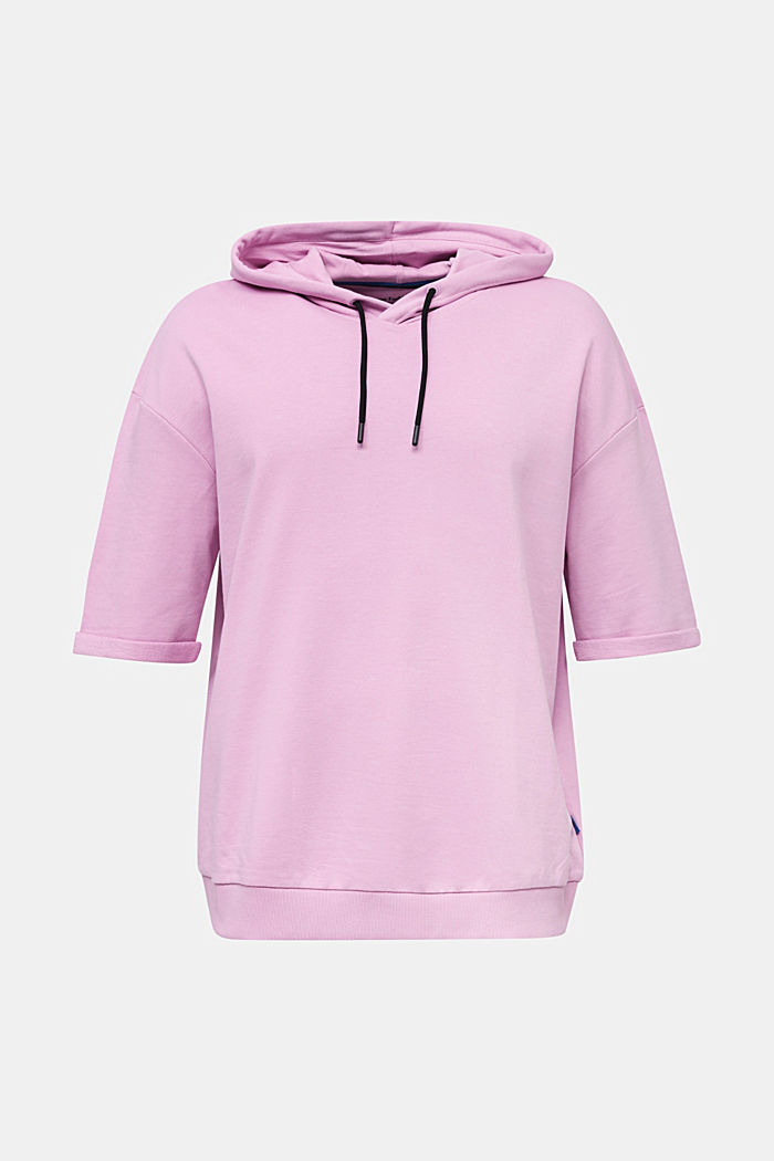 Kurzarm-Hoodie aus 100% Baumwolle, LILAC, overview