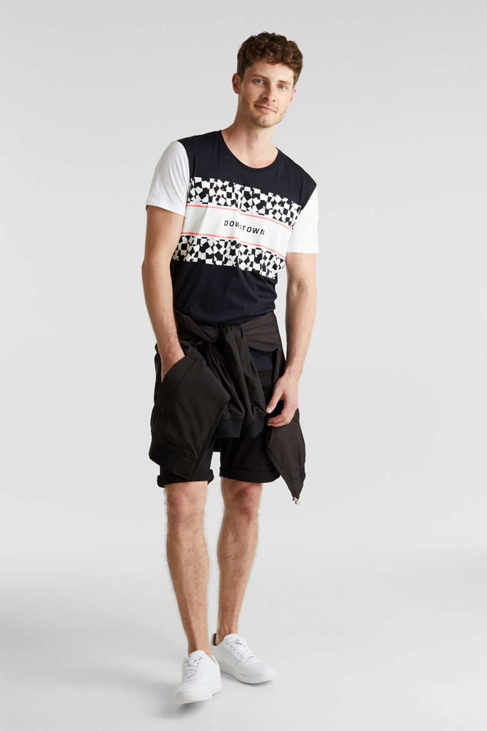 Jersey T-shirt with an on-trend print, 100% cotton, BLACK, detail image number 2