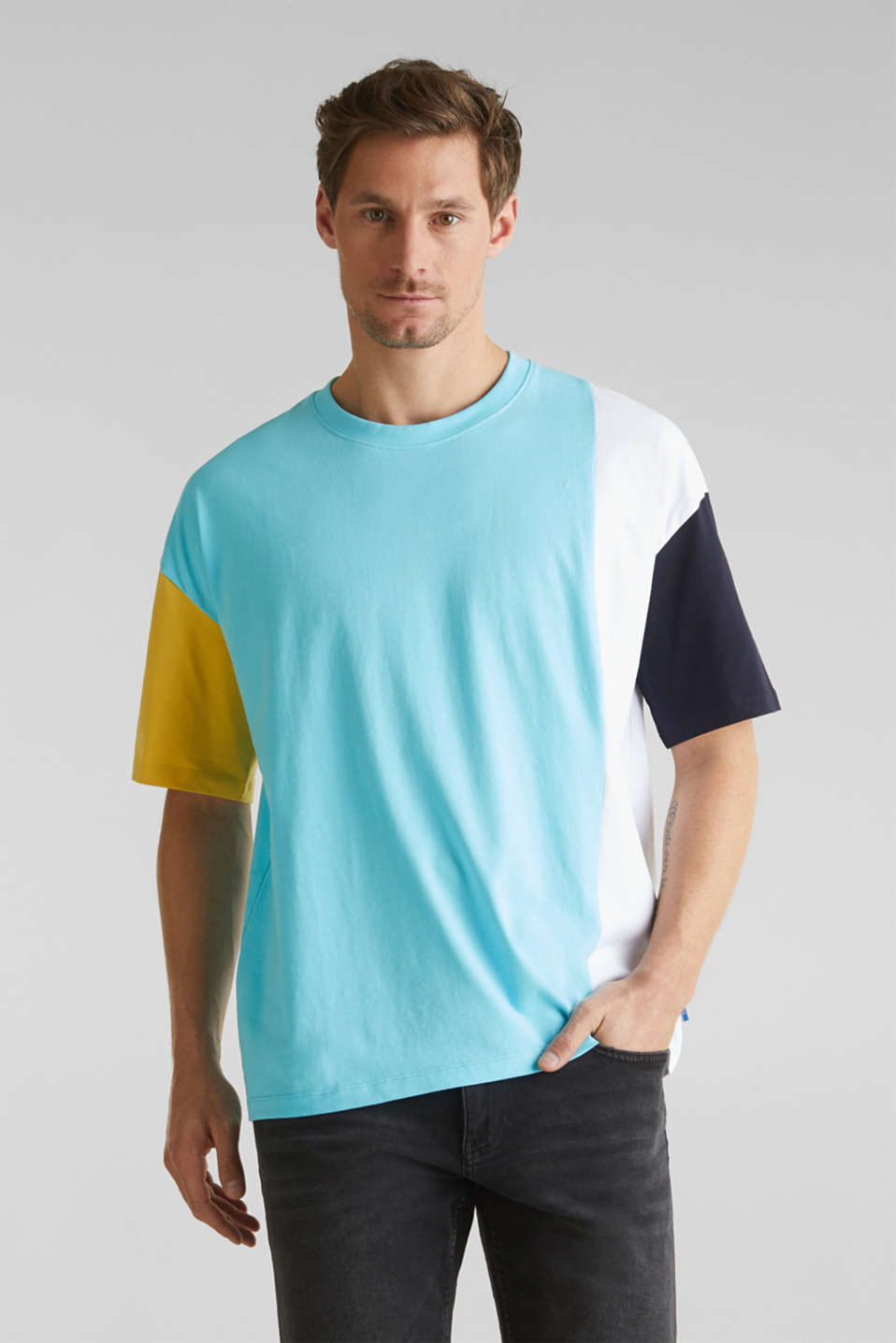 edc - Jersey shirt met colour block elementen