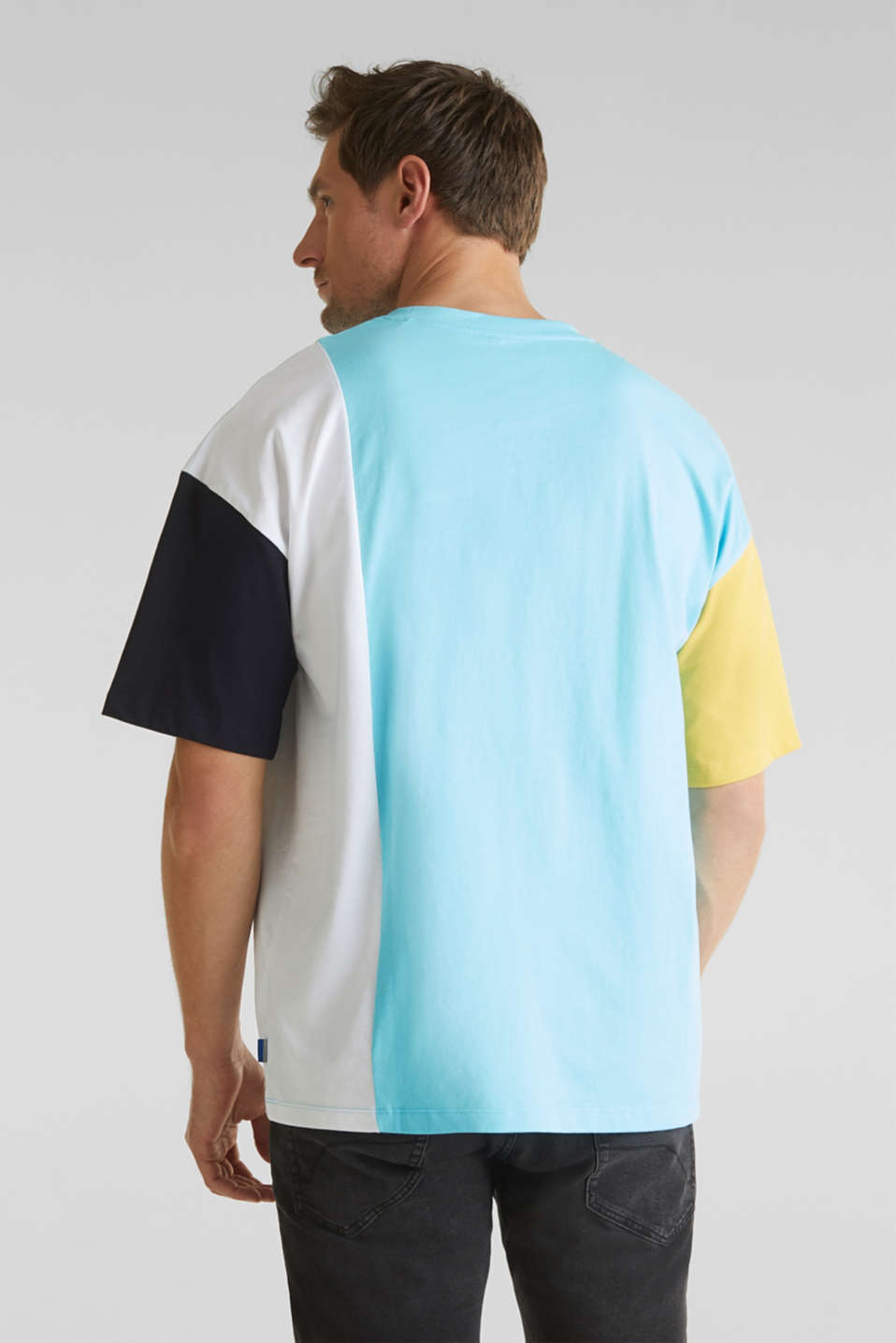 Jersey T-shirt with colour block elements, LIGHT BLUE 2, detail image number 3