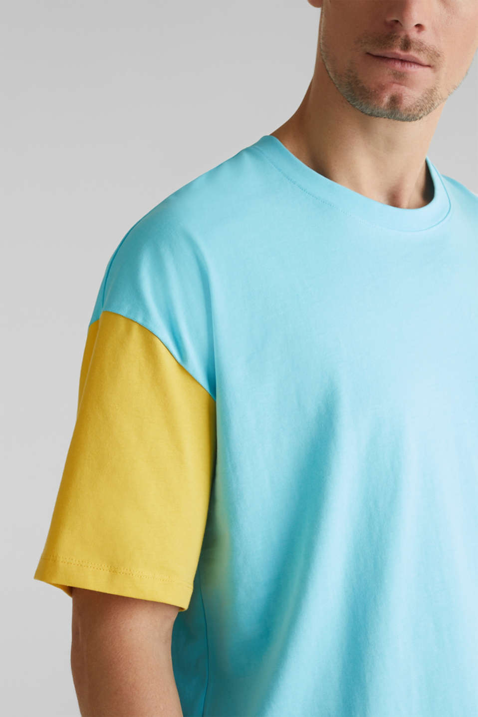 Jersey T-shirt with colour block elements, LIGHT BLUE 2, detail image number 1