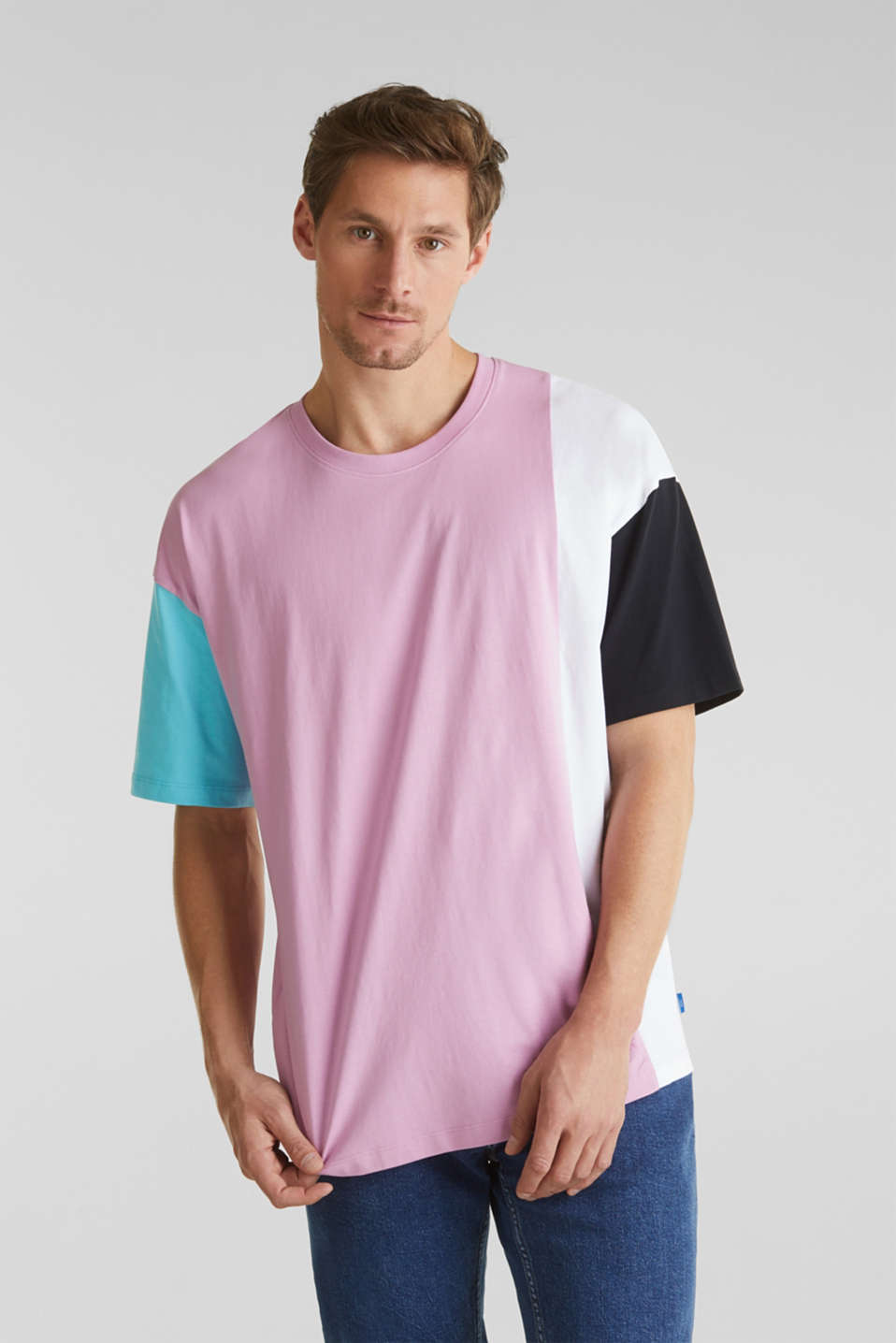 edc - Jersey T-shirt with colour block elements