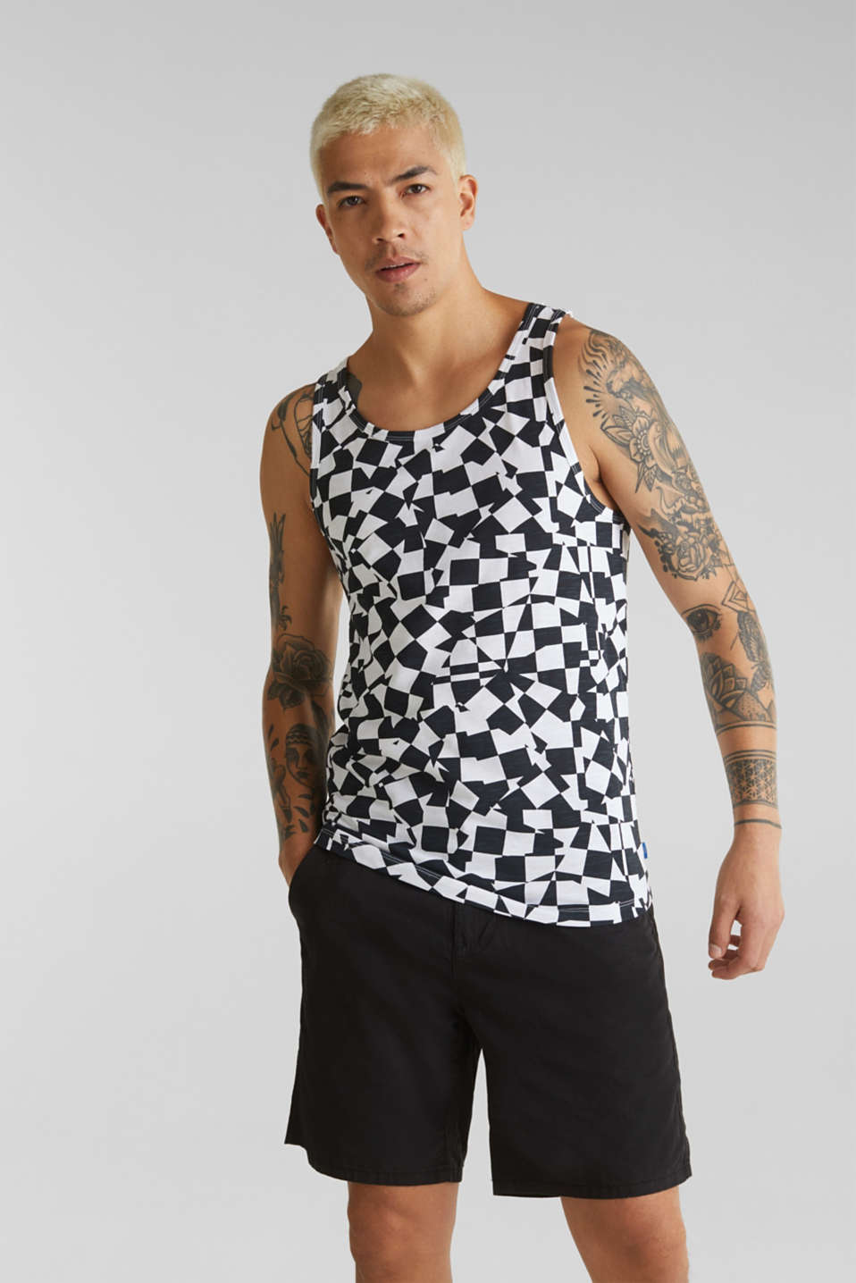 Slub jersey sleeveless top made of 100% cotton, WHITE, detail image number 0
