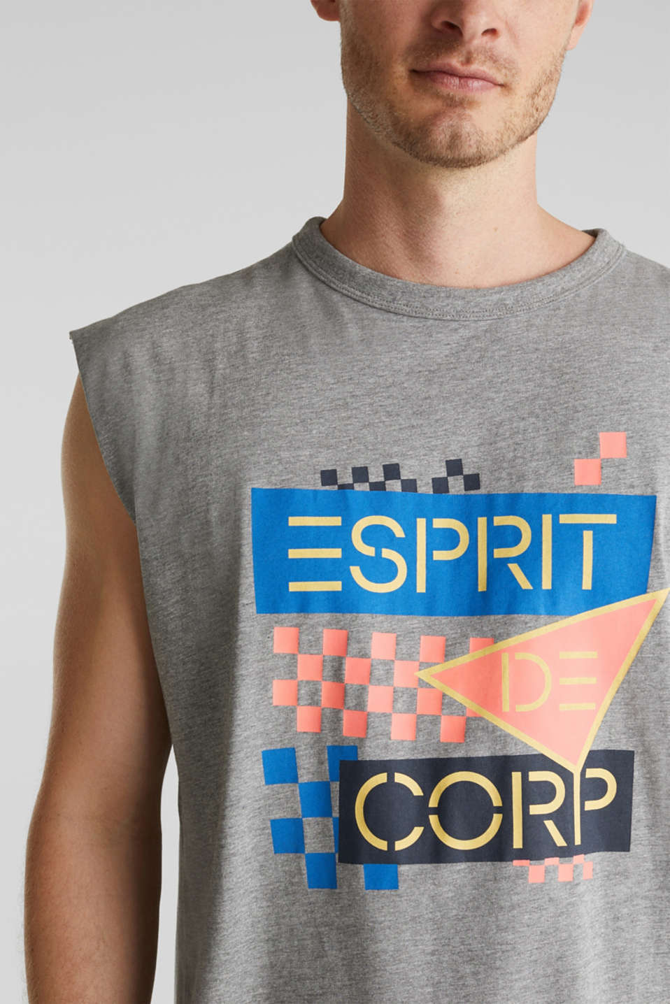 Jersey sleeveless top with a logo print, MEDIUM GREY 5, detail image number 1