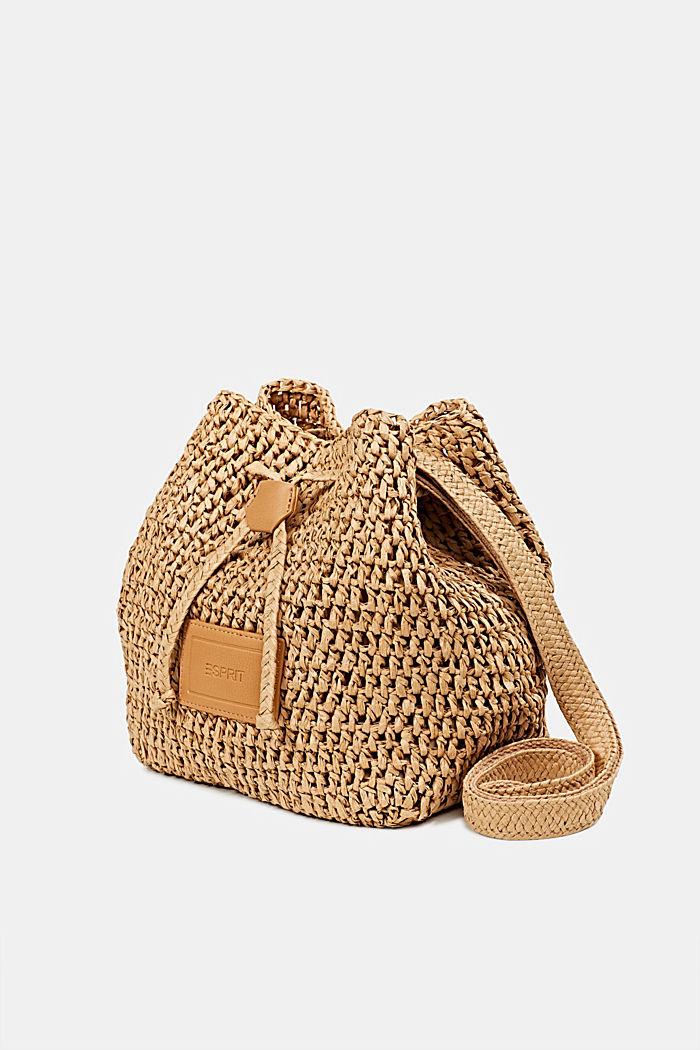 Handgearbeitete Bucket Bag aus Bast, CAMEL, detail image number 2