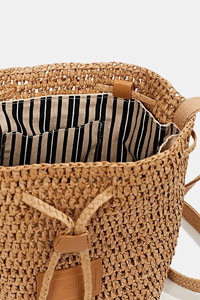 Handgearbeitete Bucket Bag aus Bast, CAMEL, detail image number 4